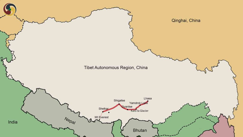 13 Days Lhasa to Everest Basecamp Trek tour Map