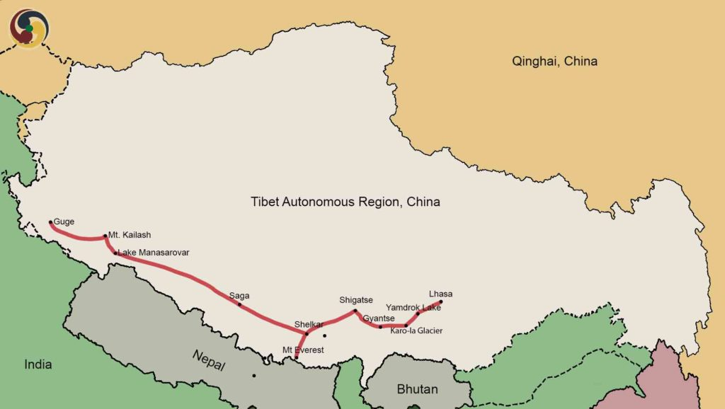 20 days lhasa to everest kailash trek and guge kingdom ruins tour map