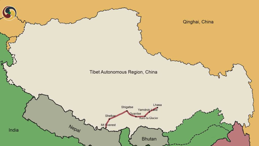 8 Days Lhasa to Everest Base Camp Tour Map