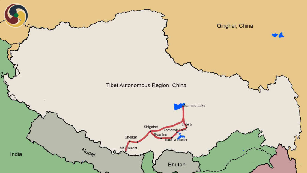 9 days lhasa everest base camp namtso lake tour Map
