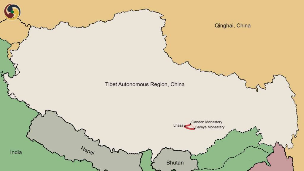 Ganden Samye Trekking tour map