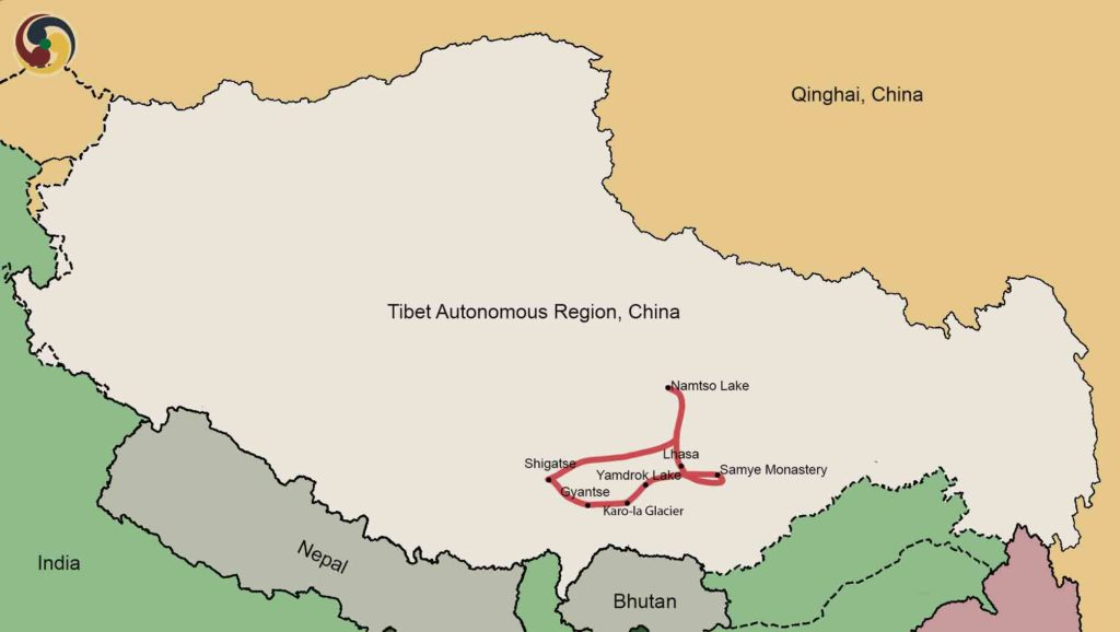 10 days lhasa tsedang gyantse shigatse namtso lake tour Map