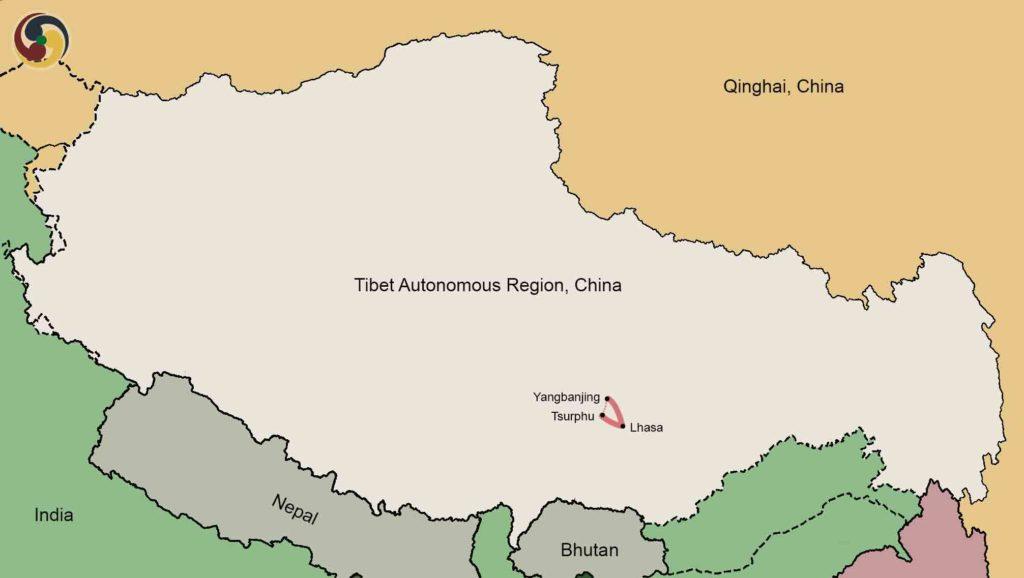 9 Days Tsurphu Monastery - Yangpachen Hotspring Trek tour Map
