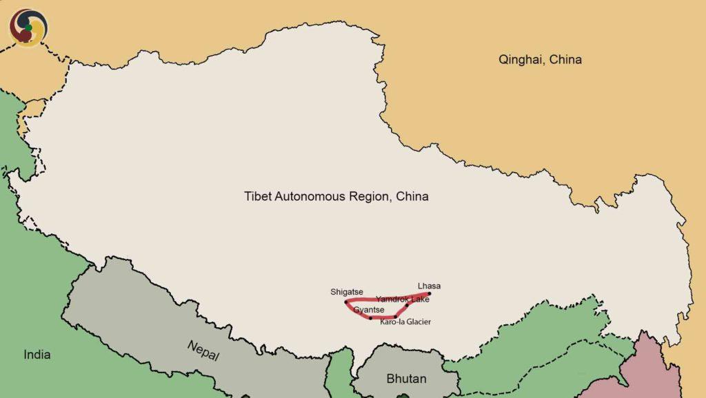 6 days Lhasa shigaste tour map