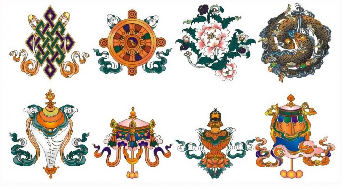 Eight Auspicious Signs or Eight symbols of good fortune