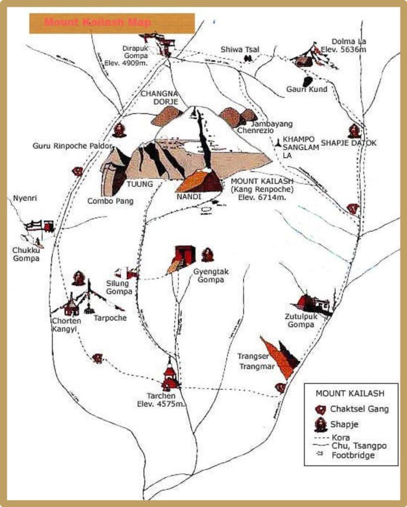 Mount Kailash trekking tour map
