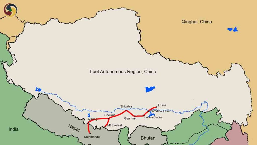7 Days Tibet to Nepal Overland Group Tour Map
