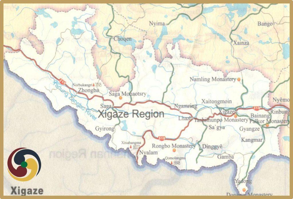 Shigatse tourism map