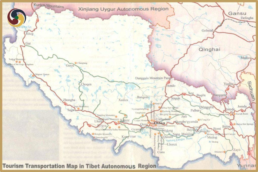 Tibet tourism map