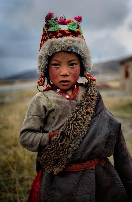 A cute remote Tibetan child