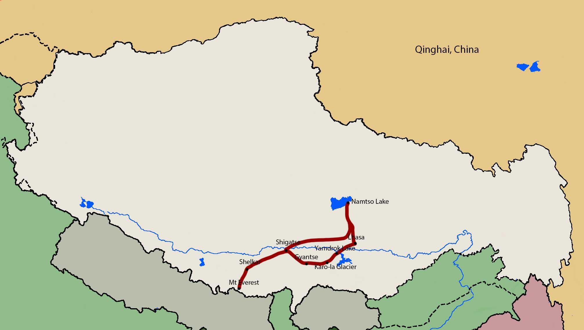 Lhasa - Everest Base Camp – Namtso Lake Tour map